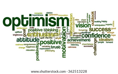 Word cloud concept with words related to attitude, optimism, positivity and positive thinking - stock vector