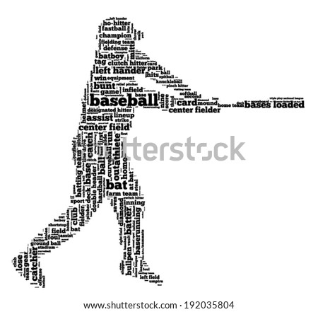 Word cloud containing words related to baseball in shape of baseball player, black letters on white background - stock vector