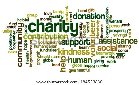 Word cloud containing words related to charity, assistance, health care, kindness, human features, positivity, volunteering, donations, help and similar - stock vector