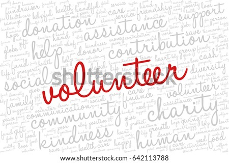 "Word cloud containing words related to charity, assistance, health care, kindness, human features, positivity, volunteering, donations, help and similar.  Word ""volunteer"" emphasized."