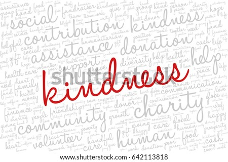 "Word cloud containing words related to charity, assistance, health care, kindness, human features, positivity, volunteering, donations, help and similar.  Word ""kindness"" emphasized."