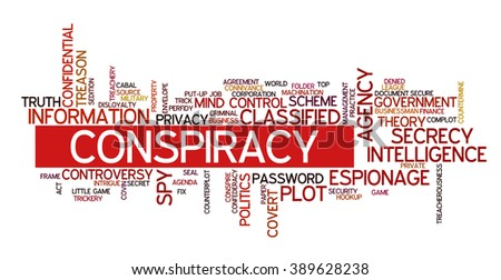 Word cloud containing words related to conspiracy and conspiracy theories - stock vector