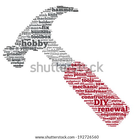 Word cloud containing words related to DIY and home renovation (do it yourself) concept and names of household tools - hammer, saw, pliers, clamp, etc. in shape of a hammer with red handle - stock vector
