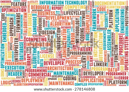 Word cloud containing words related to software development and engineering, programming, coding, computing, software applications and information technology.