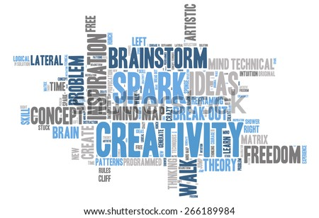 Word Cloud - Creativity and Inspiration. word cloud about the creative process, grey, blue, white  - stock vector