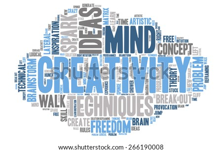 Word Cloud - Creativity, Inspiration and Ideas. word cloud about the creative process, grey, blue, white. Cloud Shaped  - stock vector