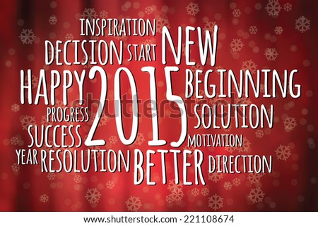Word cloud filled with positive attitude for the new year 2015 - stock vector