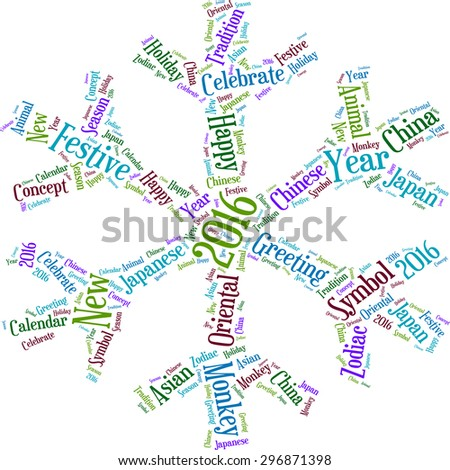 Word cloud for the coming year of the monkey in the form of a snowflake
