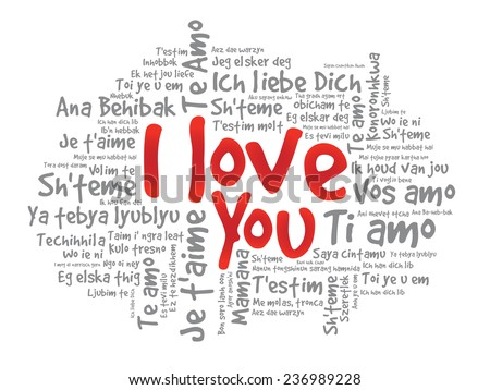 "Word cloud ""I Love You"" in different languages, valentine vector illustration - stock vector"