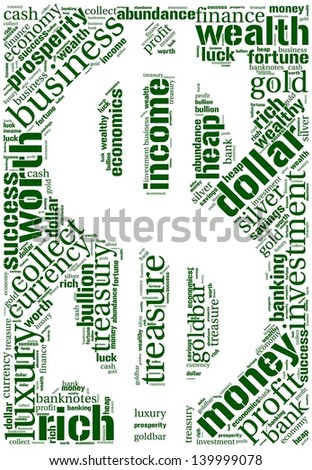 Word cloud in a shape of dollar with money terms - stock vector