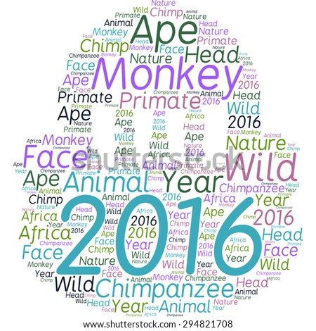 Word cloud in the form of a monkey head