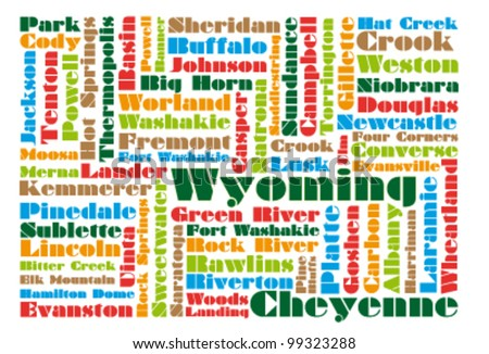 Word Cloud Map Wyoming State Stock Illustration - Map of wyoming state