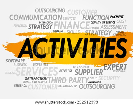 Word cloud of ACTIVITIES related items, presentation background - stock vector