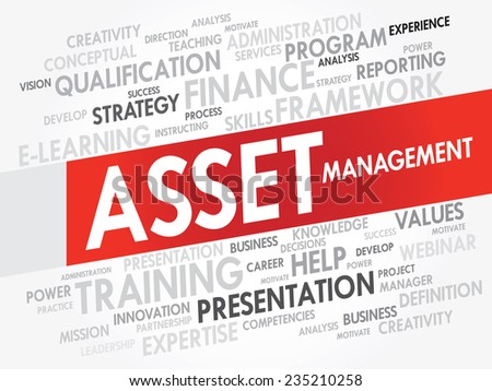 Word cloud of Asset Management related items, vector presentation background