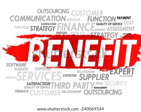 Word cloud of BENEFIT related items, presentation background - stock vector
