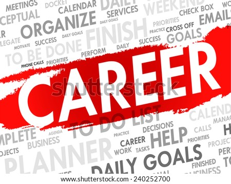 Word cloud of CAREER related items, vector background - stock vector
