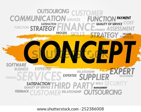 Word cloud of CONCEPT related items, presentation background - stock vector