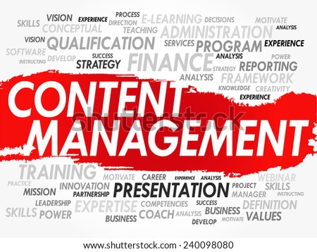 Word cloud of Content Management related items, vector background - stock vector