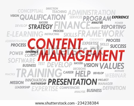 Word cloud of Content Management related items, vector presentation background - stock vector