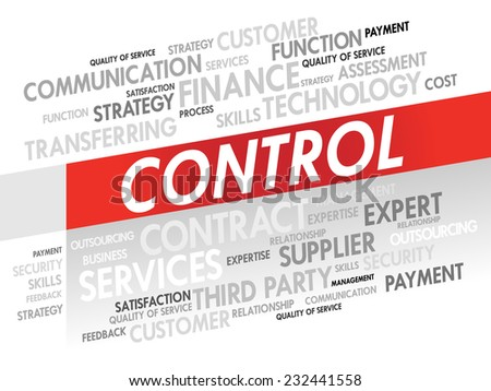 Word cloud of CONTROL related items, presentation background - stock vector