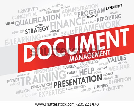 Word cloud of Document Management related items, vector presentation background - stock vector