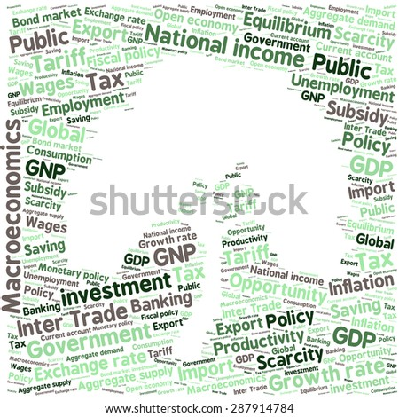 word cloud of economic growth related items - stock vector