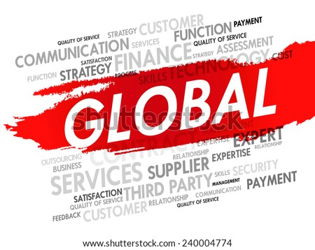 Word cloud of GLOBAL related items, presentation background - stock vector