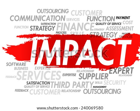 Word cloud of IMPACT related items, presentation background - stock vector