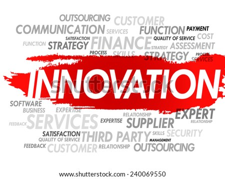 Word cloud of INNOVATION related items, presentation background - stock vector