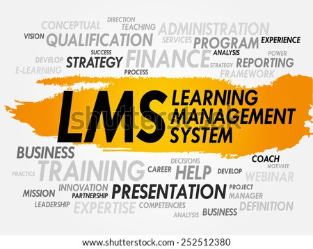 Word cloud of Learning Management System (LMS) related tags, business concept - stock vector