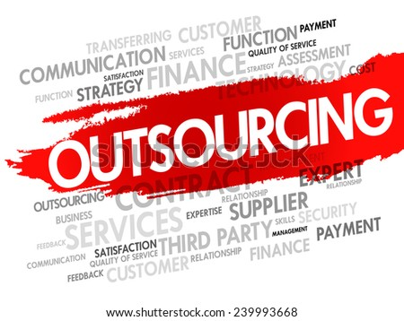Word cloud of Outsourcing related items, presentation background - stock vector