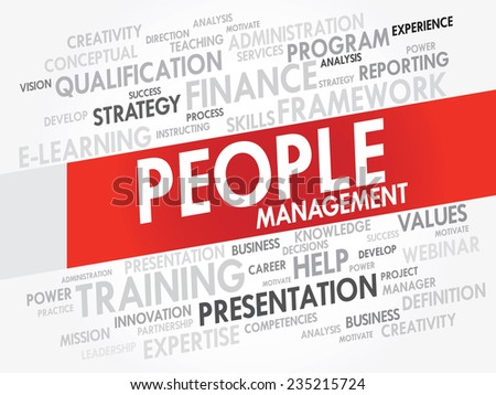 Word cloud of People Management related items, vector presentation background - stock vector