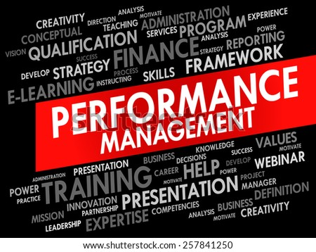 Word cloud of Performance Management related items, business concept - stock vector