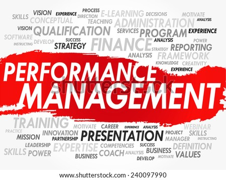 Word cloud of Performance Management related items, vector background - stock vector