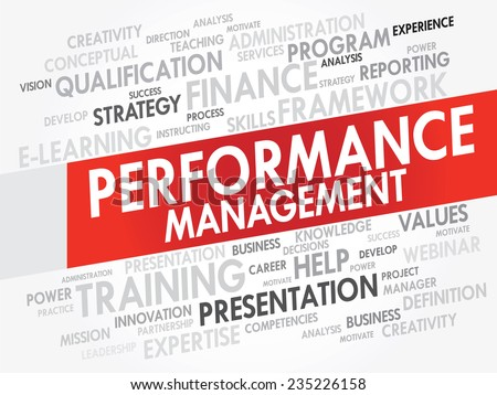 Word cloud of Performance Management related items, vector presentation background - stock vector