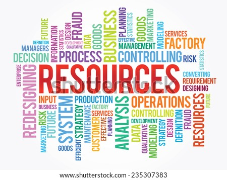 Word cloud of RESOURCES related items, vector presentation background