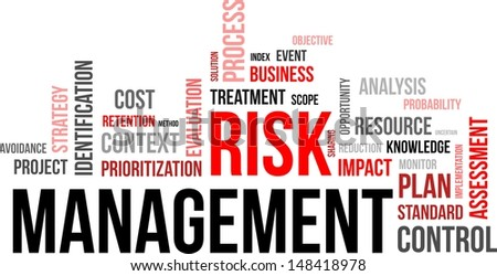 word cloud of risk management related items - stock vector