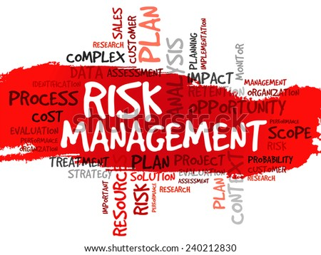 Word cloud of RISK MANAGEMENT related items, vector background - stock vector