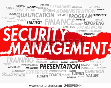 Word cloud of Security Management related items, vector background - stock vector