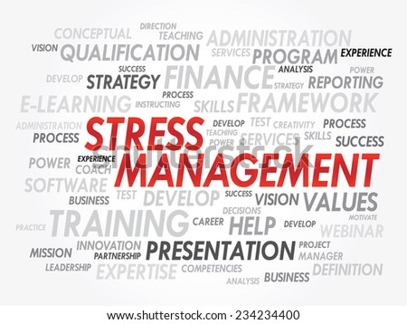 Word cloud of Stress Management related items, vector presentation background - stock vector