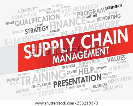Word cloud of Supply Chain Management related items, vector presentation background - stock vector