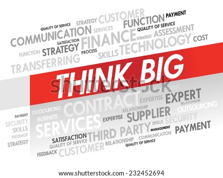 Word cloud of THINK BIG related items, presentation background - stock vector