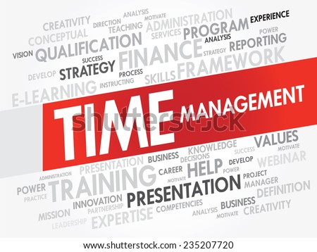Word cloud of Time Management related items, vector presentation background - stock vector