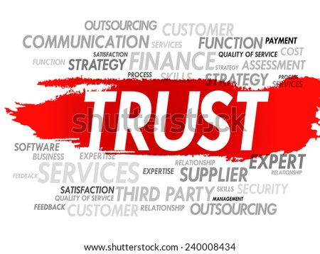 Word cloud of TRUST related items, presentation background - stock vector