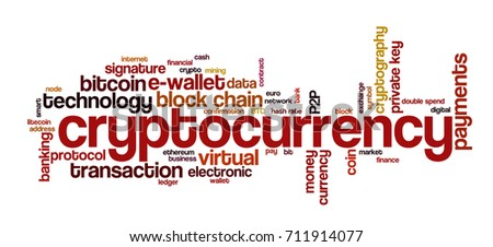 "Word cloud related to bitcoin, cryptocurrency, virtual money and transactions; word ""cryptocurrency"" emphasized"