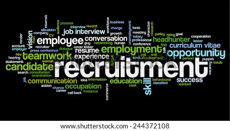 Word cloud related to job interview, employment and recruitment - stock vector