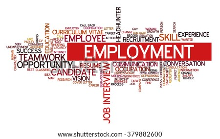 Word cloud related to job interview, employment, headhunting and recruitment - stock vector
