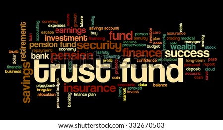 Word cloud related to retirement, pension and trust funds, budget, money, profit, finance and financial plans