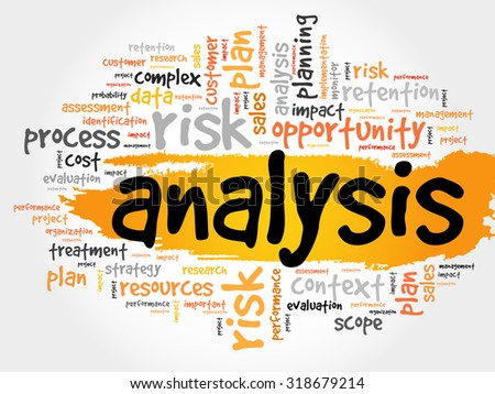 Word Cloud with Analysis related tags, business concept - stock vector