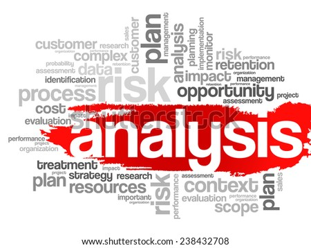 Word Cloud with Analysis related tags, vector business concept - stock vector